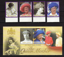 Saint Lucia 2002 Queen Elizabeth The Queen Mother Commemoration.Stamps And S/S.MNH - St.Lucia (1979-...)