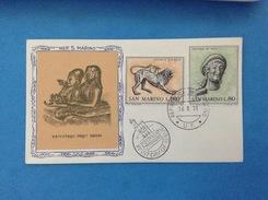 1971 Arte Etrusca San Marino Busta Primo Giorno Fdc Filagrano Gold First Day Cover - FDC