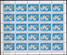 Yugoslavia 1986 International Peace Year Sheet Of 25, MNH (**) Michel 2200 - Blocks & Kleinbögen