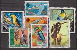 Vaccination, Navire Et Avion, Train Monorail - GUINEE - Faune, Oiseau, Insecte, Dessin De Audubon - 1970 - Guinea (1958-...)