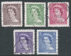 Canada. 1953 Queen Elizabeth II. Used Complete Set (Sheet Stamps). SG 450-454 - 1952-.... Reign Of Elizabeth II