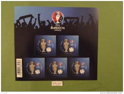 "FRANCE 2016 FOOTBALL BLOC FEUILLET  "" UEFA EURO 2016  "" Comprenant 5 TIMBRES 1,00 Euro Gommé - Europees Kampioenschap (UEFA)"