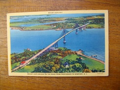 """états-unis , R.i , Mount Hope Bridge On The Road From Providence To Newport """" Timbre 1949 """" - Providence"""