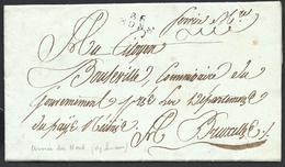 """An 4 Armée Du Nord L. 86/MONS En Noir + """"Service Mre"""" Signée Lenain Pour Bruxelles - 1794-1814 (Période Française)"""