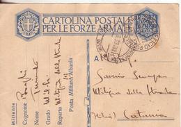 132-cartolina In Franchigia 2^Guerra-Ufficio Postale Militare N.202 Del 21.8.39 (Albania) X Catania - Militaria