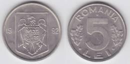 Rumania 5 Lei 1.992 Niquel Acero KM#114 SC/UNC      T-DL-10.234 - Rumania