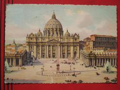 Roma / Citta Del Vaticano (RM) - Künstlerkarte Piazza E Basilica Di S. Pietro / Auto - Vatikanstadt