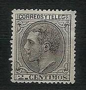 SPAGNA 1879 - Alfonso XII - 2 C.nero-grigio - Yt:ES 183 - Nuovi
