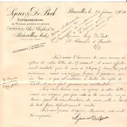 Lettre De Lejour&De Bock Entrepreneurs Travaux Publics & Privés Bruxelles 18/2/1904 PR4369 - 1900 – 1949