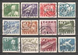 Sweden 1936 Mi 227-238 Canceled - Suecia
