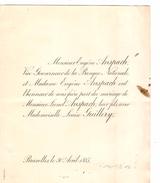 Faire-Part De Mariage De Mr.E.Anspach Et Madame Qui Marie Leur Fils Bruxelles 30/4/1885 - Boda