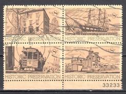 United States 1971 Historic Preservation - Sc #1440-43 - Mi.1052-55 Block Of 4  - Used - United States
