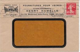 Env. Henry Hamelle - Valvoline 1927- Perf. HH 37 Sur 194 - Perfins
