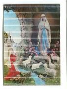 Cp - Carte En 3D  - Lourdes (65) - Notre Dame De Lourdes Et St Bernadette Au Fond La Basilique - Cartes Postales