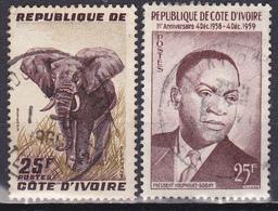 Lot De 2 Timbres-poste Oblitérés - Éléphant Président Félix Houphouët-Boigny - N° 178-180 (Yvert) - RCI 1959 - Timbres