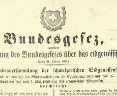 BERN SCHWEIZ 1860 - Bundesgesetz Münwesen Eidgenossenschaft Scheidemünzen Numismatik Suisse - Livres & Logiciels