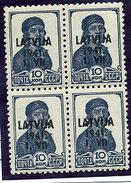 LATVIA (German Occupation) 1941 Overprint On Soviet Union 10k Block Of 4 MNH / **.  Michel 2 - Latvia