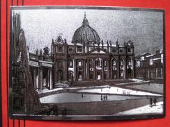 Roma / Citta Del Vaticano (RM) - Metallfolienkarte Piazza E Basilica Di S. Pietro / Auto - Vatikanstadt