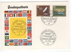 Hamburg Flughafen. Flug PA618 - Berlin. Boeing 727 Jet-Flug PANAM. 1.8.1966 - Lettres & Documents