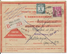 """1934 - PAIX PERFORE """"CIMA"""" Sur CARTE RECO CONTRE REMBOURSEMENT De TOULOUSE Avec TAXE => CASTELMAYRAN - France"""