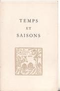 Plaquette 1960  Temps Et Saisons La Tour D'argent Paris - Werbung