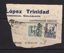 España 1937. Canarias. Frontal De Las Palmas. Censura. - Marcas De Censura Nacional