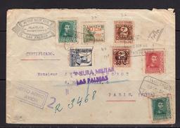 España 1938. Canarias. Carta De Las Palmas A Paris. Censura. - Marcas De Censura Nacional