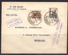 España 1937. Canarias. Carta De Tenerife A Bruselas. Censura. - Marcas De Censura Nacional