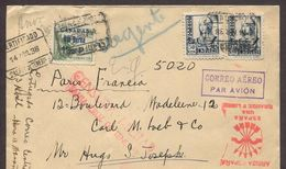 España 1938. Canarias. Carta De Tenerife A Paris. Censura. - Marcas De Censura Nacional