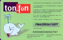 Used Phone Cards Tonga , Tonfon Open Green 20T$ (whale)