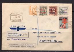 España 1938. Canarias. Carta De Las Palmas A New York. Censura. - Marcas De Censura Nacional