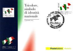 [MD0921] CPM - 150° ANNIVERSARIO DELL'UNITA' D'ITALIA - TRICOLORE - CON ANNULLO 7.1.2011 - NV - Storia