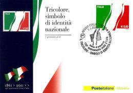 [MD0922] CPM - 150° ANNIVERSARIO DELL'UNITA' D'ITALIA - TRICOLORE - CON ANNULLO 7.1.2011 - NV - Storia