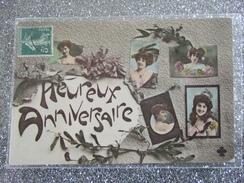 HEUREUX ANNIVERSAIRE / BELLE CARTE 190? / MULTIVUES FEMMES / GUI / AS DE TREFLE - Anniversaire