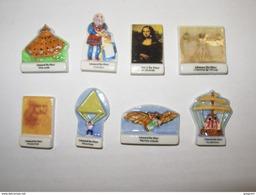 8 FEVES   Serie Complete LEONARD DE VINCI , Inventeur , Invention - Geschiedenis