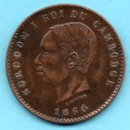 R65/  FRENCH  CAMBODIA  / CAMBODGE  10 Centimes 1860  NORODOM I Gadoury 3 - Cambodge