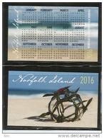 Calendrier De Poche Année 2016, De L´île Norfolk (Pacifique Sud)  état Neuf - Kalender