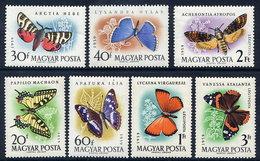 HUNGARY 1959 Butterflies Set MNH / **.  Michel 1633-39 - Hungría