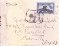 BRITIS CEYLON / SRILANKA 1943 CENSOR COVER POSTED FROM COLOMBO FOR CALCUTTA - Ceylan (...-1947)