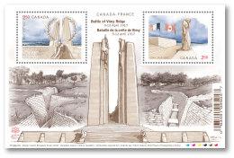 CANADA 2017.   CENTENARY Of The BATTLE Of VIMY RIDGE,  SHEETHLET Of  Two $2.50  Stamps   See Info Below - Blokken & Velletjes