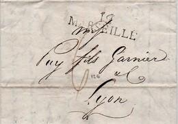 Lettre Avec Correspondance De 1810  Marquage Linéaire De Marseille à Lyon - Storia Postale