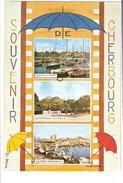 Souvenir De CHERBOURG Manche ; Parapluie ;Yachts Au Port,La Montagne Du Roule,Le Pont Tournant ; Par M Collignon;1970 TB - Otros Ilustradores