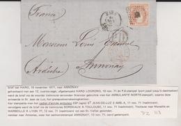 1871 HARO LOGRONO  A ANNONAY ARDECHE FRANCE SELLO AMBULANTE NORTE - 1870-72 Regentschaft