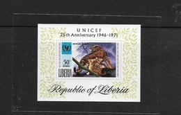 O) 1971 LIBERIA, BENGAL TIGER, UNICEF - 25TH ANNIVERSARY FROM 1946, SOUVENIR MNH - Liberia