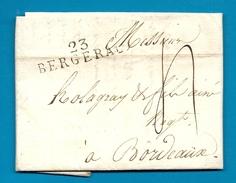 Dordogne - Bergerac Pour Holagray à Bordeaux (Gironde). MP 23/BERGERAC - Marcophilie (Lettres)