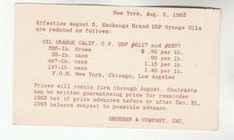 1963 USA Postal STATIONERY Card UNGERER Co Re ORANGE OILS Cover Stamps