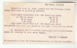 1963 USA Postal STATIONERY Card UNGERER Co Re LEMON OILS Cover Stamps