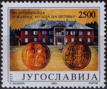 Yugoslavia 1993  100 Years Anniversary Museum Cetinje, Montenegro, Architecture, Old Coins, MNH - Ungebraucht