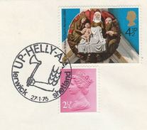1976 COVER LERWICK Shetland Islands UP HELLYAA Illus VIKING AXE Event Pmk Gb Vikings Stamps Christmas - History