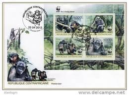 CENTRAL AFRICA 2012 - WWF. Chimpanzees. FDC - YT 2392-5, Mi 3682-5 - FDC
